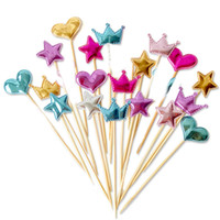 Wholesale crown cupcake - Fast shipping 5 pcs lot lovely heart star crown cake topper for birthday cupcake flag baby shower party wedding decoration supplies
