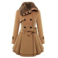 Wholesale Double Breasted Skirt Coat - 2017 Womens Brand New Autumn Winter Poncho Skirt Coat Women Double Breasted Thicken Slim Long Style Wool Blends Coats With Belt