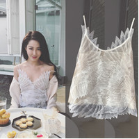 2018 new fashion women's sexy 3D feather wing patchwork chiffon spaghetti strap tank top vest camisole S M L
