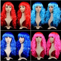 Wholesale long wave costumes hair online - costume party wigs Big wave wig lady synthetic lace wig long curly hair wigs Festival Halloween Party wigs