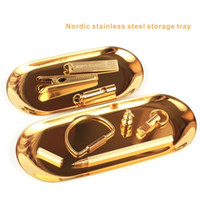 Wholesale Eco Stationery - Nordic Ellipse Stainless Steel Storage Tray Can store stationery and jewelry, and you can also put fruits and pastries.