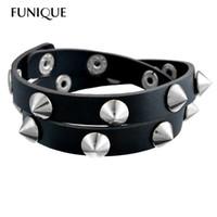 leather cuff wristband bracelet großhandel-Gothic Punk Metall Cone Stud Spikes Niet Lederarmband Armband Manschette Armreif Coole Männer Frauen Multilayer Armband