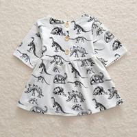 dinosaurier kleinkind großhandel-Neue Kindermädchensommerkleiderkleinkindbaby-Sommerkleiddinosaurierprinzessinkleid druckte Rockbaumwollkleidung