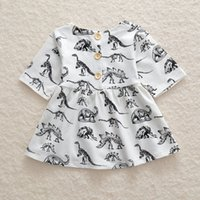 Wholesale baby knee cap for sale - New kids girl summer dresses toddler baby girls sundress dinosaur princess dress printed skirt cotton clothes