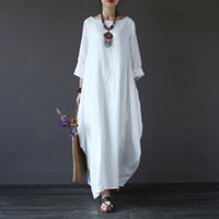 ingrosso abito bianco cotone boho-2018 Estate Plus Size Abiti a maniche lunghe per le donne 3xl 4xl 5xl Abito di lino cotone sciolto Bianco Boho Dress Dress Long Maxi Robe