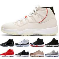 gece elbiseleri erkekler toptan satış-Platin Tonu Concord 45 11 XI 11 s Kap ve cüppe Erkekler Basketbol Ayakkabıları Balo Gece Salonu Kırmızı Bred Barons Gri erkek spor sneakers tasarımcısı