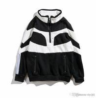 zip de manga comprida branca preta venda por atacado-18 masculino e feminino além de veludo preto e branco costura mangas compridas hip hop solto pullover moda meia zip camisola novo estilo