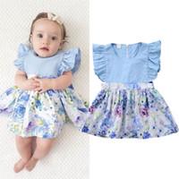 yeni doğan ruffle elbiseleri toptan satış-Yenidoğan Bebek Kız Çiçek Elbise Kolsuz Ruffled Mavi Sundress Rahat Düz Renk Gelinlik Modelleri Çocuk Giyim Kız Parti Kostüm