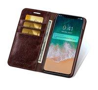 monederos iphone al por mayor-Monedero Monedero Flip Style Funda de cuero retro Funda protectora Funda para Apple iPhone 6-8X