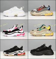sıcak rahat ayakkabılar toptan satış-Sıcak !! 2019 Moda Paris 17FW Üçlü-S Sneaker Üçlü S Rahat Baba Ayakkabı erkekler Kadınlar için Bej Siyah Ceahp Spor Tasarımcısı Ayakkabı Boyutu 36-45
