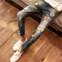 Wholesale korean model male - Spring And Autumn Models Harlan Pants Male Korean Version Of The Small Feet Of Young Jeans Hole Retro Long Pants Tide