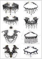 Wholesale Gothic Jewelry Lace Choker - Minimalist Gothic chokers necklaces multi layer Tattoo Lace Choker Cross Charms Necklace for women Fashion Jewelry accessorie 473