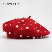 kız çocuklar için bereler toptan satış-Yeni Moda Kadınlar Kırmızı Yün Bere Kış Inci Bere Şapkalar Fransız Şapka Femme Baret Kap Kız Bereliler Bayanlar Sonbahar WH695