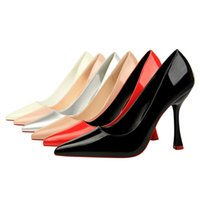 Wholesale Apricot Pointed Heels Pumps Shoes - Woman Shoes Patent Leather Slip on Pumps Pointed Toe Sandals Shallow High Heels Slides Shallow Shoes Black Red White Silver Pink Apricot
