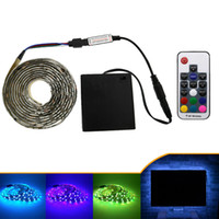 Wholesale Led Strip Light Pack - 5050 LED Strip 5V TV lights RGB Black PCB IP20   IP65 Waterproof Decorative Light lamps with RF contrllor 5V 4*AA Battery pack