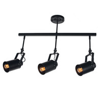 Wholesale Black Metal Lamp Shade - 3-Light Track Lighting Kit, Metal Industrial Track Light with Cylinder Shaped Lamp Shade Adjustable Ceiling Light Black Finishing Edison E26