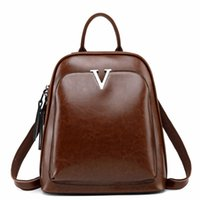 Wholesale teenage travelling backpack resale online - Vintage Designer Genuine Leather Women Backpack Oil Cow Leather Teenage Girls Casual School Bag Female Retro Travel Bag Bagpack