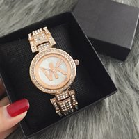 Wholesale Flash Watches - New AAA Fashion Casual Lady Quartz Watch Luxury Flash Diamond Ladies Business Watch High quality alphabet stainless steel dress watch.Gift