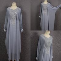abaya con cuentas kaftan al por mayor-Caftan gris madre de la novia viste de lujo con cuentas de manga larga Kaftan vestido maxi lentejuelas tallas grandes vestidos de noche Dubai Abaya vestido