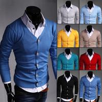 ingrosso cardigan da uomo-Men's Fashion Boutique Pure Colour Cardigan in cotone scollo av Formal Social Business Maglieria maglione Maglione maschile Hotsale di alta qualità
