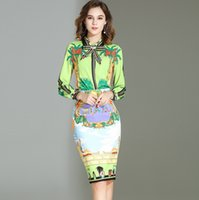 Wholesale two piece pencil skirt set - 2018 Women's Turn Down Collar Long Sleeves Bow Detailing Shirt with Printed Pencil Skirt Fashion Designer Runway Two Piece Sets Twinsets