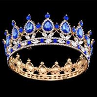 ingrosso corone di costume-Sfilata barocca con corona grande Tiara a tutto tondo Trasparente smeraldo austriaco con strass Re regina Corona Matrimonio Corona nuziale Costume Art déco