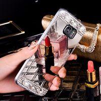 miroir strass pour les téléphones achat en gros de-Coque de téléphone Bling Glitter strass miroir pour iphone X 6 6S 7 8 Plus 5S XS Max bord Samsung Galaxy S6 S7 bord S8 S9 Plus Note 8 Couverture arrière