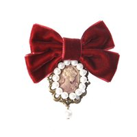 Wholesale Elegant Ladies Costumes - New Women Velvet Bow Tie Vintage Cameo Lady Head Simulated-pearl Brooch Chic Girls Elegant Costume Jewelry Collar Pin Good Gifts