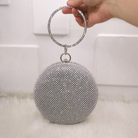 Wholesale pearls purses clutches for sale - Crystal bag simple solid clutch women bridal wedding wallet purse pearl evening party bag circle round gold silver black