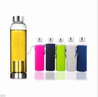 Wholesale Bpa Free Travel Water Bottle - 550ml 22oz Glass Water Bottle BPA Free High Temperature Resistant Glass Sport Water Bottle With Tea Filter Infuser Bottle Nylon Sleeve