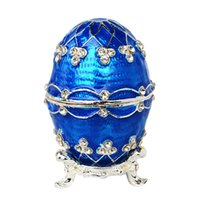 Wholesale Faberge Crystal Eggs - Faberge egg crystal bejeweled trinket jewelry box ring holder metal tabletop accessories crafts novelty Gift for women