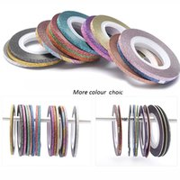 Wholesale 3mm glitter for sale - transfer foil New Roll Art Glitter Striping Tape Line Laser Shinning Mix Color mm Nail Transfer Foils Sticker Tools Beauty