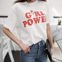 camisa de mulher rosa vermelha impressa venda por atacado-Mulheres Harajuku Verão Tee Red Rose Girlpower Flor Impressão Mangas Curtas Lady T-shirt Gola Alta Doce Roupas