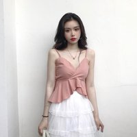 Wholesale camisole for girls - Summer Girls V-Neck Ruffled Solid Cropped Camis Tops Sleeveless Shirts Female Camisoles Tanks Crop Tops For Women 2018