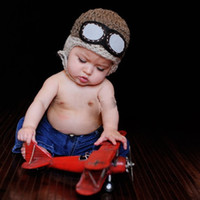 coole babyhäkeln großhandel-Kleinkinder warme Kappe Hut Mütze Cool häkeln Baby Pilot Bomber Hut häkeln Aviator, Aviator Googles, Foto-Prop
