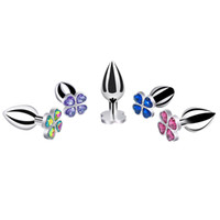 Wholesale new butt plug designs - Dia 26mm*length 67mm small size new design four leaf cover Metal Anal plug jewelry butt beads dildo Sex toys for men women