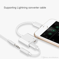 Wholesale 2 in Dual For Lightnin to Headphone Audio Charger Adapter Connectors Cable For iPhone X Plus For iOS Charging Music