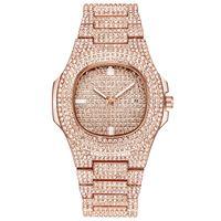 Wholesale quartz analog watches online - New Luxury Women Watch Diamonds Quartz Lady Stainless Steel Brand Watches Rhinestone Rose Gold Wristwatches Clock Gifts Relogio Feminino