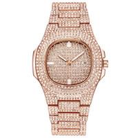 diamantes de imitación reloj de cuarzo al por mayor-Nuevo Reloj de Mujer de Lujo Diamantes Reloj de Cuarzo Señora Relojes de Acero Inoxidable Rhinestone Oro Rosa Relojes Relogio Feminino