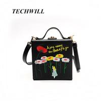 Wholesale Flowers Alice - PU Embroidery Cartoon Flower Alice Princess Women Shoulder Handbags Mini Crossbody Bags Evening Totes Bag Box Clutch Purse