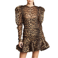 robes d'automne moulantes achat en gros de-Imprimé Robes Léopard Femme O Cou Bouffée À Manches Longues Robe De Sirène Pour Femmes Vintage De Mode Moulante Automne