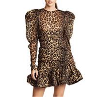 bodycon meerjungfrau kleid großhandel-Print Leopard Kleider Weibliche O Neck Puff Langarm Meerjungfrau Kleid Für Frauen Vintage Mode Bodycon Herbst