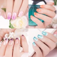 Wholesale gradient nail polish - New Nail Art Non-toxic 4pcs lot Nail Polish Gradient Color Shiny Sky Magic Long-lasting Nail Polish