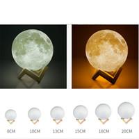 ingrosso lampada lunare per la camera da letto-3D Print Moon Lamp 2 Cambia colore Touch Switch Camera da letto Libreria Night Light Home Decor Regalo creativo