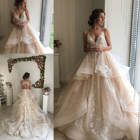 Wholesale vintage cathedral train wedding dress for sale - Glamorous V Neck Lace Dresses Wedding Dresses Ruffles Champagne Bridal Gowns Sweet Organza Special Occasion Temperament Wedding Gowns
