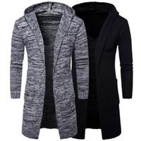 Wholesale stylish coats for winter online - Men Slim Coat Winter men s Long Sleeve Jacket Trench Stylish Cardigan knit Warm Knitwear Jackets for male Overcoat ES194