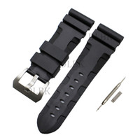 Wholesale panerai watch band strap 22mm online - 24mm mm Buckle mm Men Black Diving Silicone Rubber Watch Band Strap Sport Bracelet Strap Stainless Steel Buckle for Panerai LUMINOR