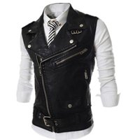 Wholesale white motorcycle vest - New 2017 Men's Fashion Leather Vest Jackets Man Sleeveless Motorcycle Tank Tops Spring Autumn zipper decoration Outerwear Coats