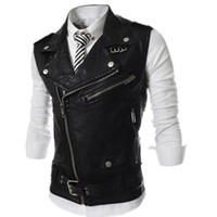 Wholesale leather tank top men - New 2017 Men's Fashion Leather Vest Jackets Man Sleeveless Motorcycle Tank Tops Spring Autumn zipper decoration Outerwear Coats