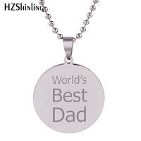 Wholesale best art hand for sale - Group buy 2018 New World s Best Dad Pendant Hand Craft Stainless Steel Necklace Art Silver Round Jewelry Ball Chain For Men HZ7